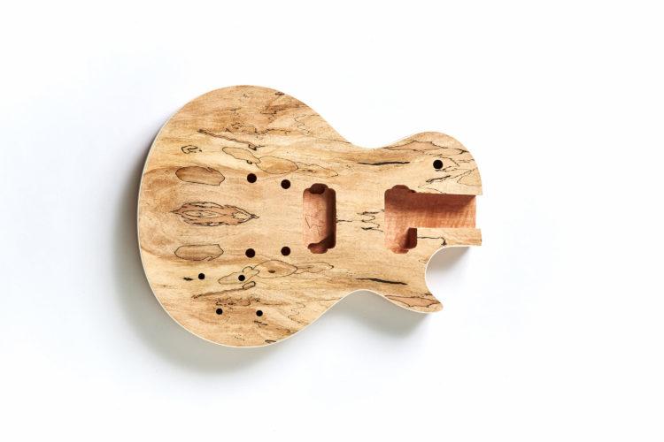 7弦レスポールスポルテッドメイプル001ボディ加工